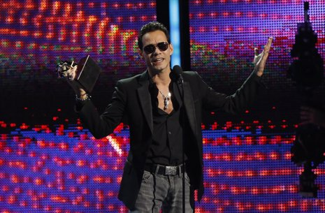 "Marc Anthony accepts the award for record of the year for ""Vivir Mi Vida"" onstag"
