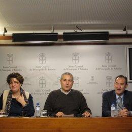 Marta Pulgar, Manuel González Orviz y Ángel Sancha