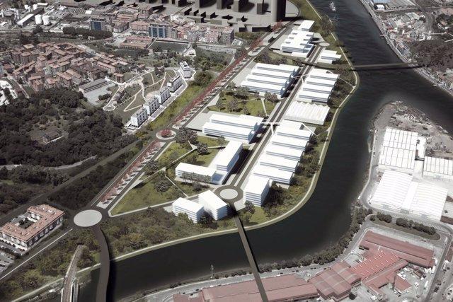 Fotomontaje del futuro parque empresarial de Burtzeña