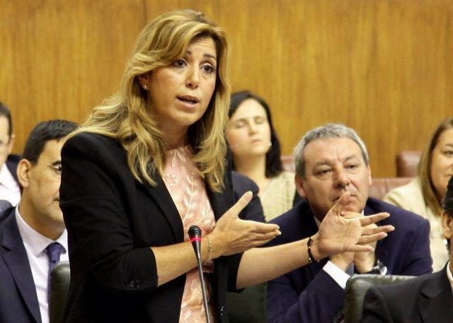 Susana Díaz, ante el Pleno del Parlamento