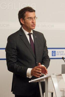 Feijóo en la rueda de prensa posterior a presidir el Consello de la Xunta