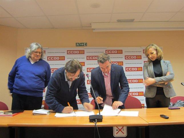 CCOO y UATAE en Aragón firman un convenio de colaboración.
