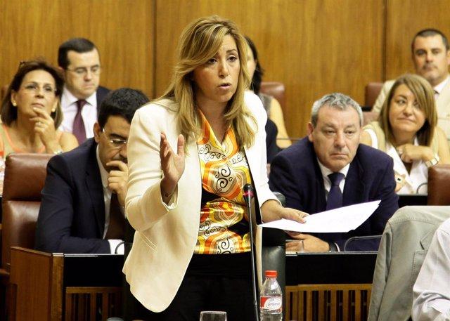 Susana Díaz, en la sesión de control del Parlamento