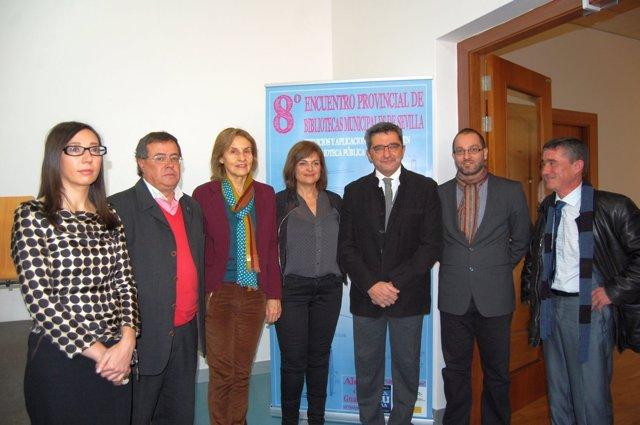 Representantes del 8º Encuentro de Bibliotecas Municipales de Sevilla.