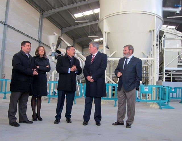 Reyes, Cobo, Peláez, Fernández de Moya y Lillo en la nueva planta de secado.