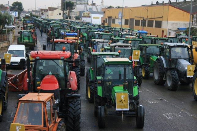 Imagen de la 'tractorada' de protesta