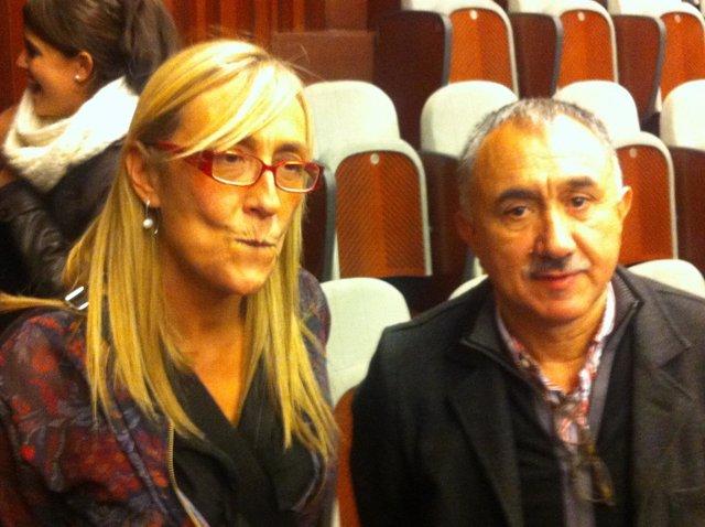 La sec grl de la FSP y el sec grl de UGT de Cat., E.Fernández y J.M. Àlvarez