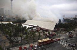 Smoke rises from the Latin America Memorial in Sao Paulo