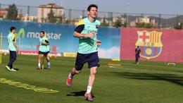 Leo Messi en un entrenamiento del FC Barcelona