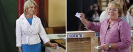 Bachelet y Matthei votando