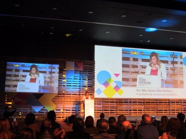 La presidenta de la Junta, Susana Diaz, en los Premios Andalucía Emprende