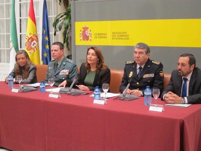 La delegada del Gobierno en la presentación del plan de seguridad para la Navida