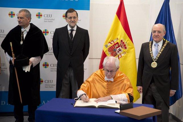 Rajoy en la investidura de Van Rompuy como Doctor Honoris Causa