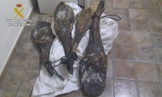 Jamones robados en Villanueva de los Castillejos (Huelva).