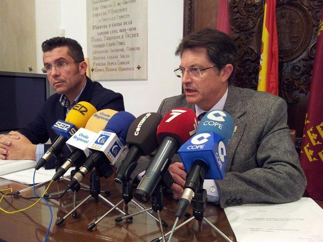 El alcalde de Lorca, Francisco Jódar, en la rueda de prensa