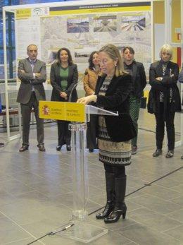 Ana Pastor, en el acto de inauguración de la Estación de Puerto Real