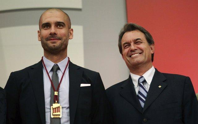 Pep Guardiola y el President Artur Mas