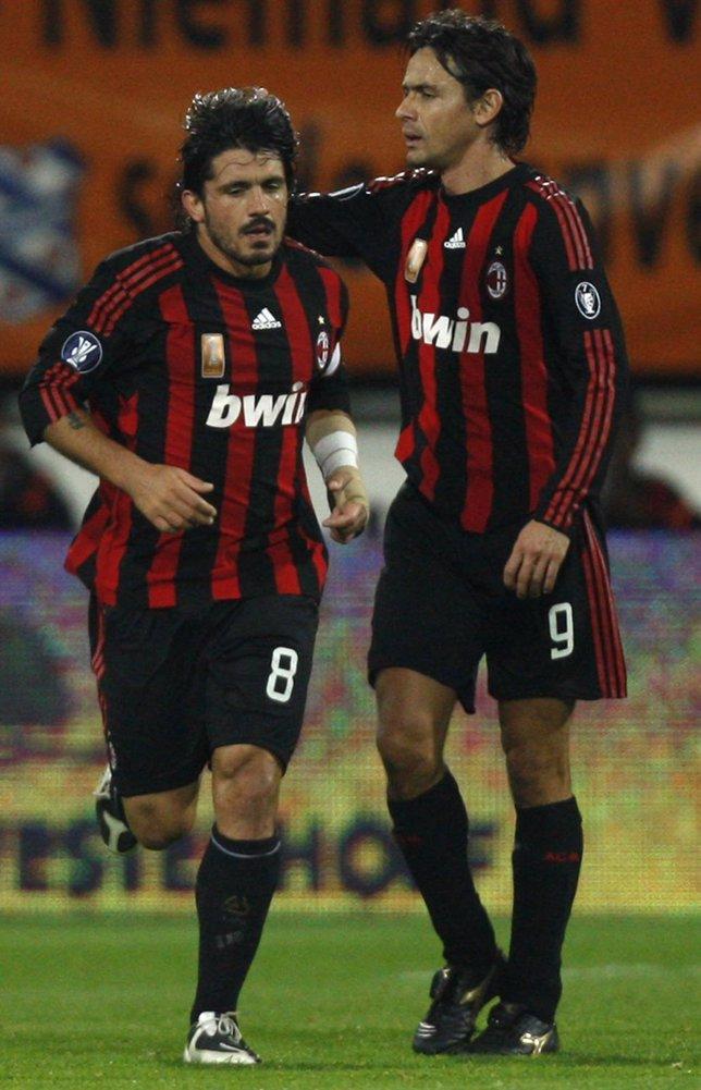 Gattuso E Inzaghi En Un Partido Con El Milan