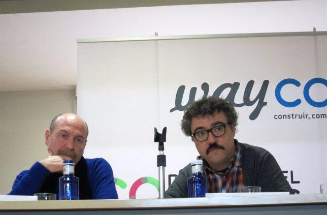 El actor Álvaro Báguena (dcha)  y el director Pau Martínez