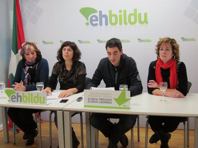 Barrena, Perales, Martínez de Eulate y Aranguren en la rueda de prensa