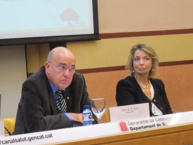 El conseller B.Ruiz y la dtora de Salud Mental de Catalunya C.Molina