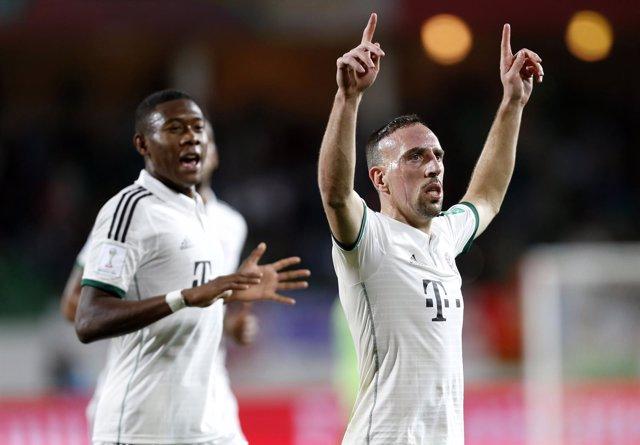 Franck Ribery celebra un tanto con el Bayern