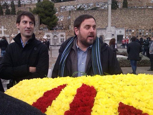 El pte de ERC Oriol Junqueras y el diputado Jordi Solé