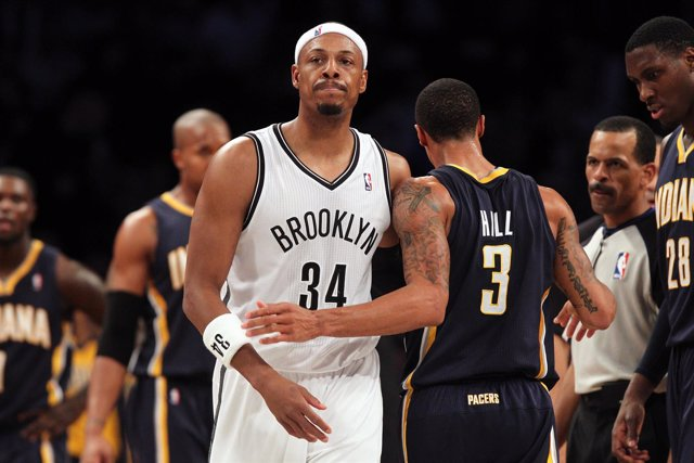 Paul Pierce, de los Brooklyn Nets, en un partido ante Indiana