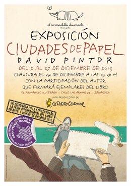 Cartel de exposición de ilustraciones de David Pintor en El Armadillo Ilustrado