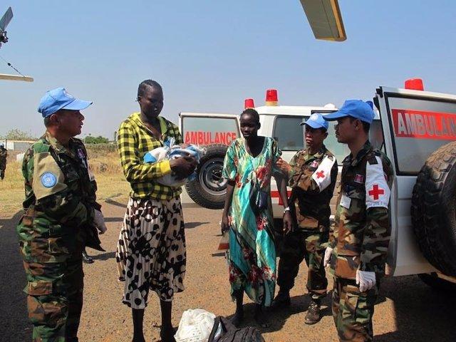 Evacuación de heridos de Bor por la UNMISS
