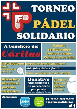 El PP de Lorca celebra el sábado un Torneo Solidario de Pádel