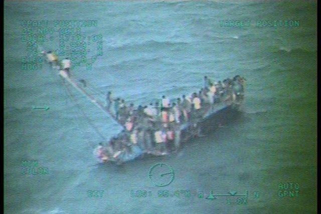 Inmigrantes haitianos en una patera