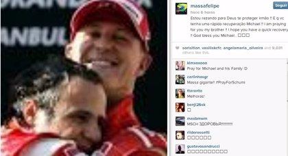 "Massa a Schumacher: ""Estoy rezando a Dios para que te proteja hermano"""