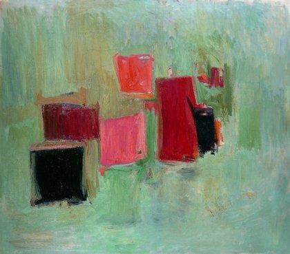Últimos en el Bellas Artes de la obra 'Sin título' de Esteban Vicente