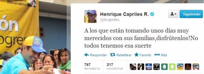 """Capriles: """"A los que están tomando unos días muy merecidos con sus familias, ¡disfrutenlos!"""""""