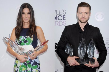 Sandra Bullock y Justin Timberlake en los People's Choice Awards