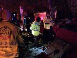 Accidente de tráfico en la M-824, entre Vicálvaro y Coslada