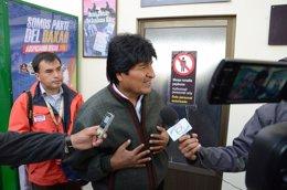 El presidente de Bolivia, Evo Morales, en el Dakar