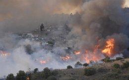 Incendio en una zona rural de Chile.