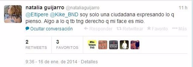 Respuesta de Natalia Guijarro en su Twitter