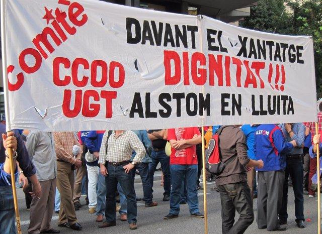 Concentración de trabajadores de Alstom ante Trabajo