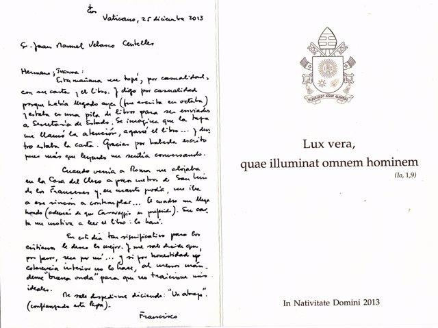 Postal del Papa al escritor castellonense Juanma Velasco
