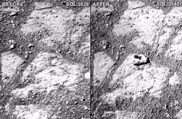 Una roca aparece delante de Opportunity