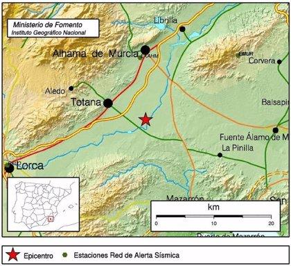 Totana registra un terremoto de magnitud 2,4 con epicentro en el cauce del río Guadalentín
