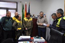 Reunión para la búsqueda del desaparecido en Valencia de Alcántara