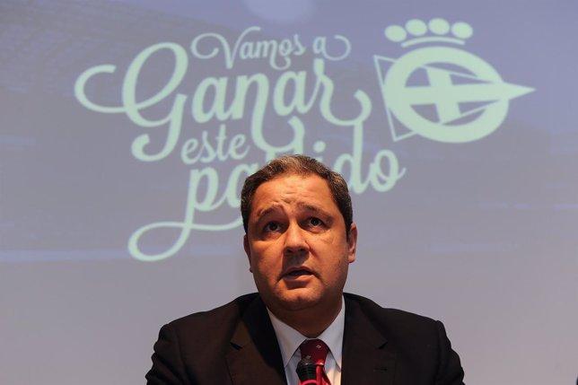 El candidato a la presidencia del Deportivo de la Coruña Tino Fernández