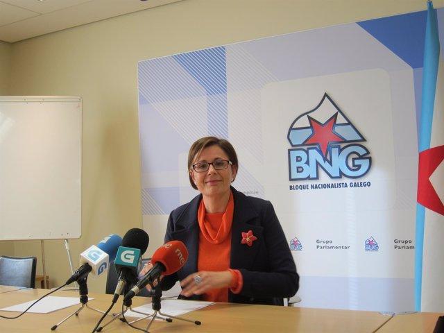 La diputada del BNG Carme Adán en rueda de prensa