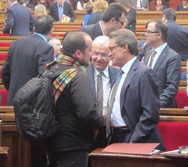 David Fernández (CUP), Ferran Mascarell y Artur Mas