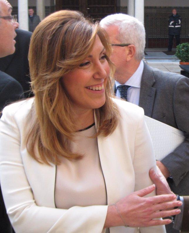 Susana Díaz, este miércoles, a su llegada al Parlamento