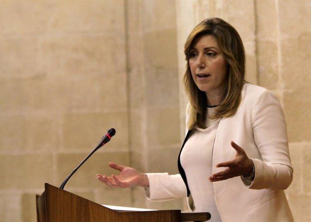 Susana Díaz, este miércoles en el Parlamento